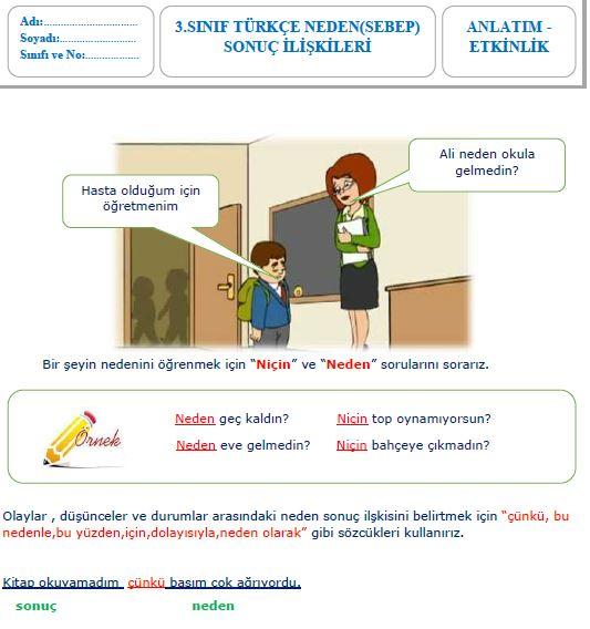 3.sınıf türkçe neden sebep sonuç ilişkisi