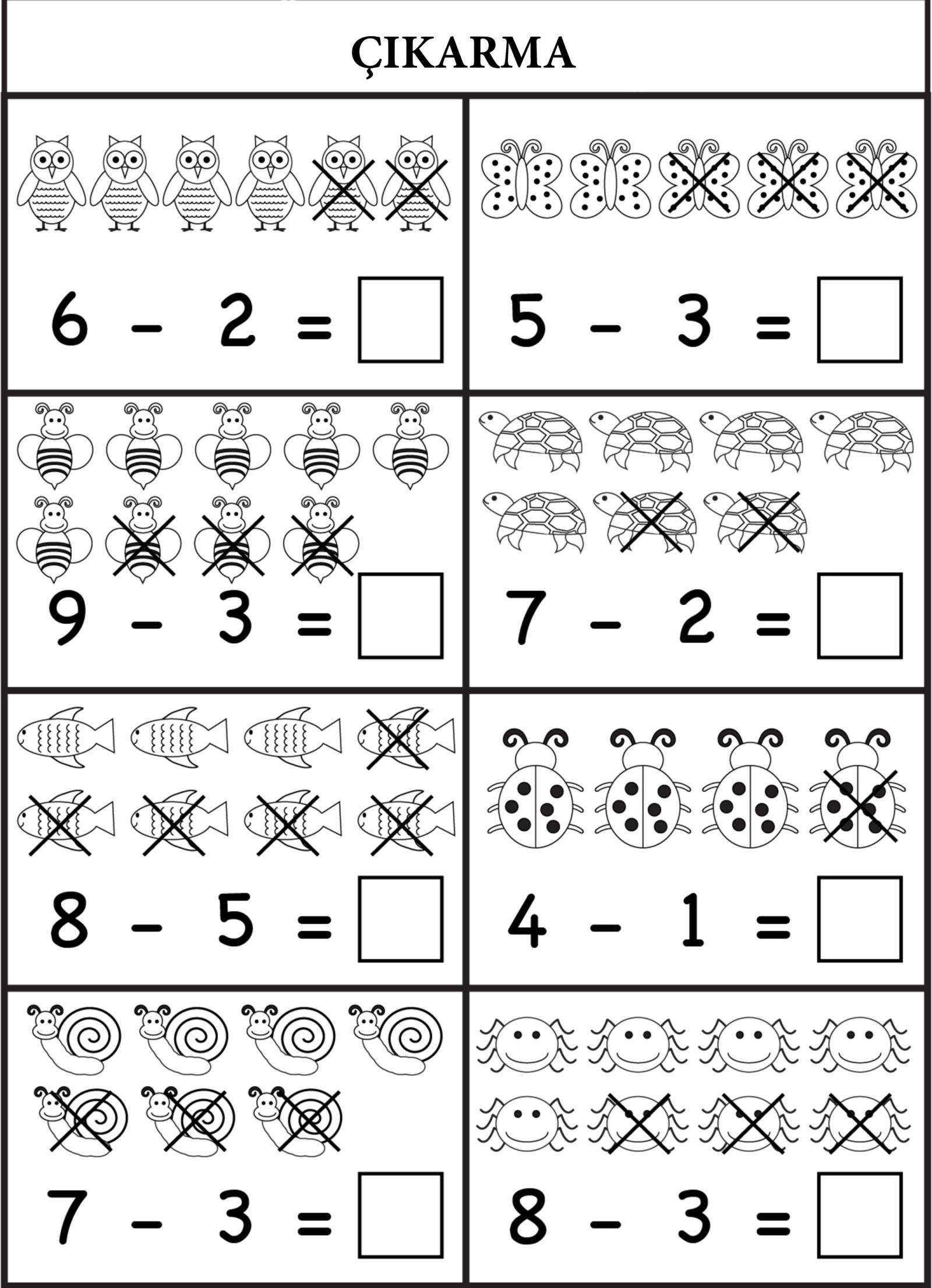 1 Sinif Matematik Cikarma Islemi