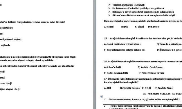 7. Sınıf Sosyal Bilgiler 1. Dönem 2. Yazılı Soruları Sınav Kağıdı