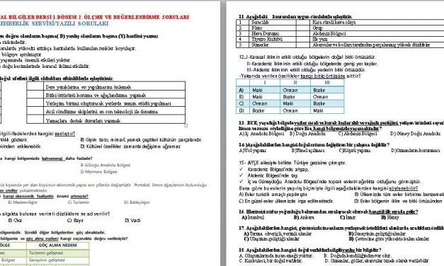 5.Sınıf Sosyal Bilgiler 1.Dönem 2.Yazılı Soruları Sınavı Yeni Müfredat