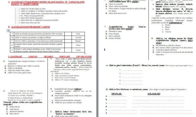 5.Sınıf Temel Dini Bilgiler 1.Dönem 2. Yazılı Soruları ve Cevap Anahtarı