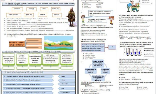 Yeni 7.Sınıf Sosyal Bilgiler 1.Dönem 2.Yazılı Soruları ve Cevap Anahtarı
