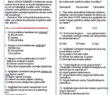 Cevaplı 3. Sınıf Deneme Sınavı Soruları ve Cevapları_Çözümlü